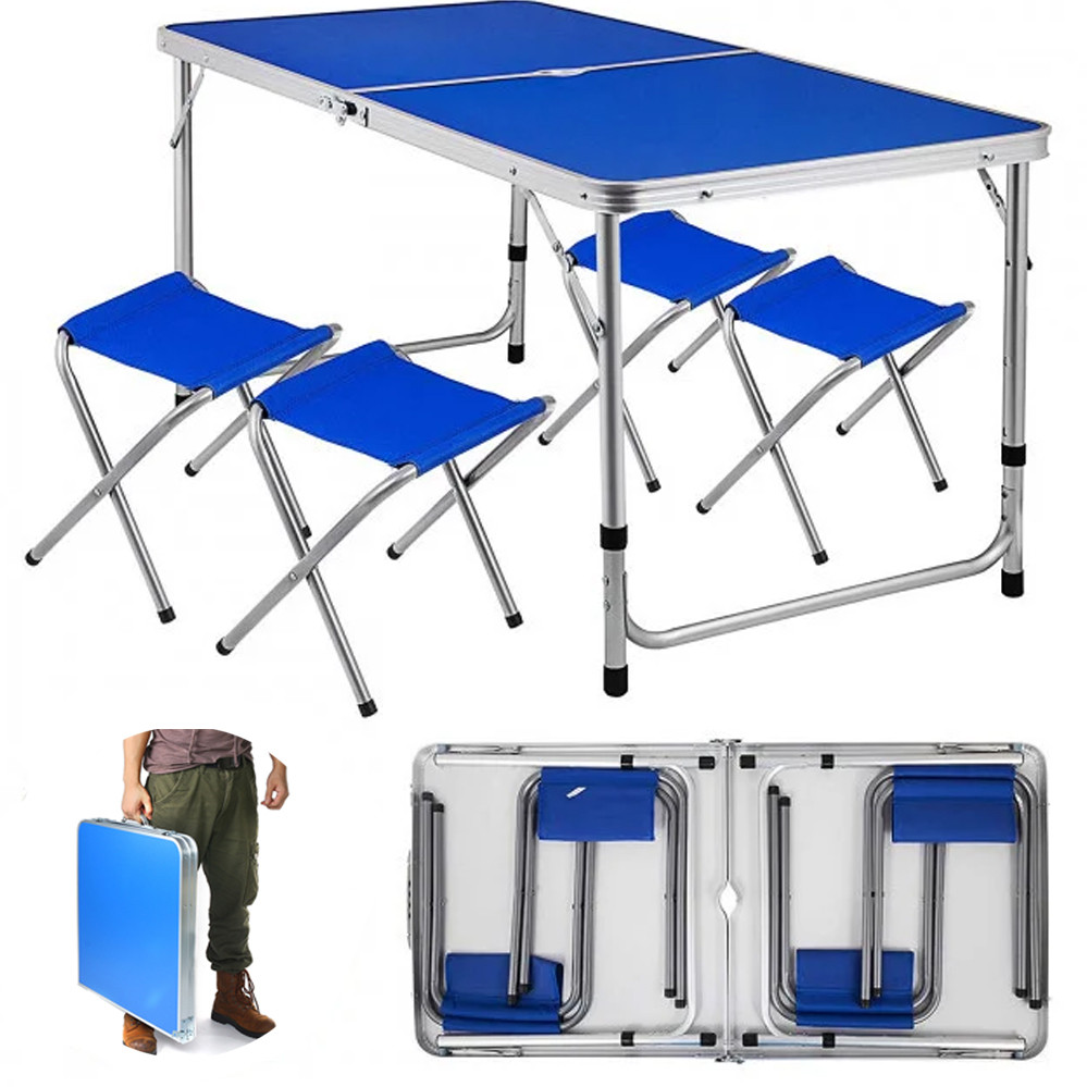 Стіл складаний алюмінієвий столик зі стільцями валіза синій для пікніка кемпінгу туризму