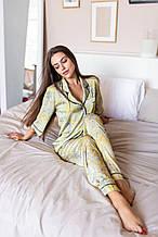 Женская пижама шелковая со штанами KAIZA