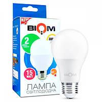 Светодиодная лампа BIOM BT-515 А65 15W E27 3000K (Груша)