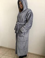 Длинный женский махровый халат серого цвета, размер S- 6XL