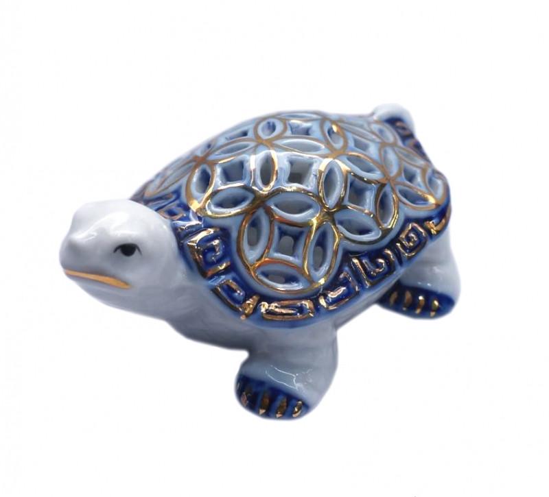 Черепаха з монетним панциром Фаянс Синя