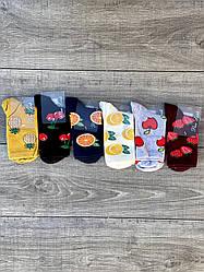 Жіночі шкарпетки з малюнком фруктів Pier Lone високі стрейчеві 36-40 12 шт в уп мікс кольорів