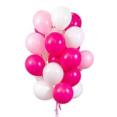 25 воздушных шаров розового и белого цвета