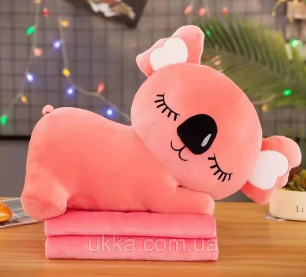 Игрушка подушка плед Коала розовая