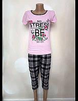 Пижама женская домашняя одежда футболка с бриджами (капри) хлопковая