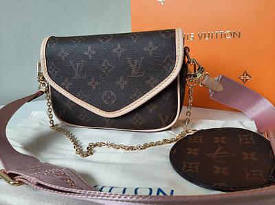 Женская сумка с широким ремешком и цепочкой Луи Виттон Louis Vuitton