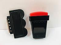 Штамп и скрапер для стемпинга черный с красной подушечкой 3х4 см.