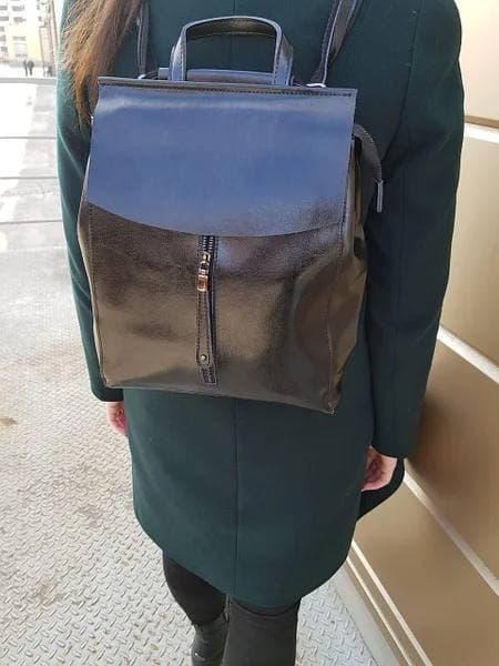 Женский кожаный рюкзак сумка с размером 28x36x10 см Черный