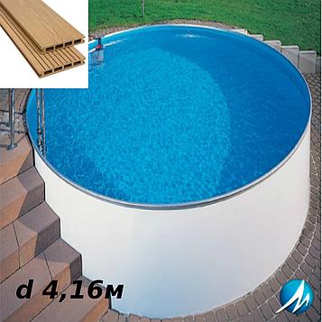 Террасная доска по периметру бассейна с шириной дорожки 0,7м - комплект для сборного бассейна d 4,16м