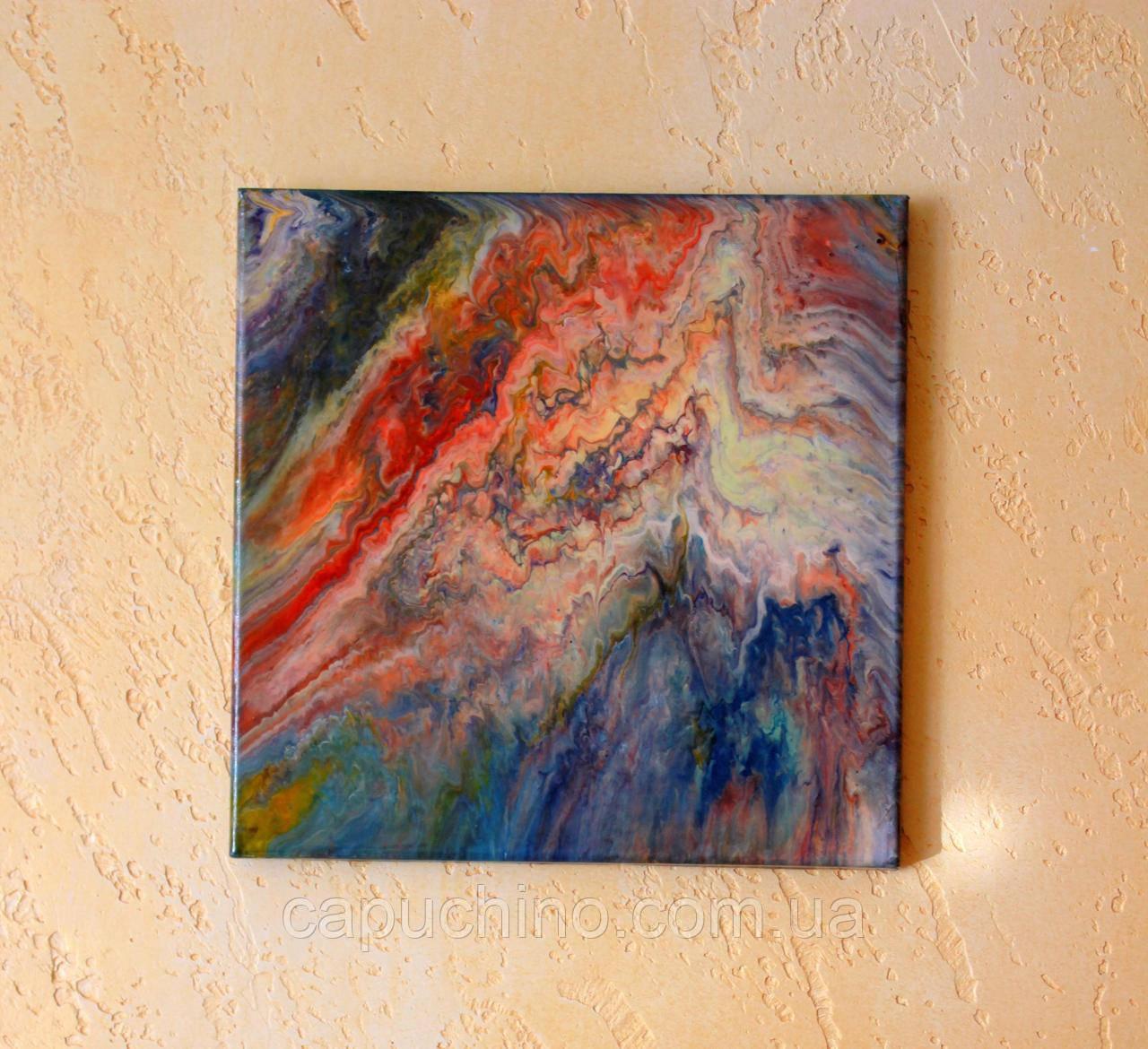 Картина рідким акрилом Внутрішній світ 30х30см покрита епоксидним клеєм Ручна робота
