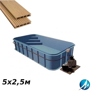 Терасна дошка по периметру басейну з шириною доріжки 0,7 м - комплект для поліпропіленового басейну 5х2,5м