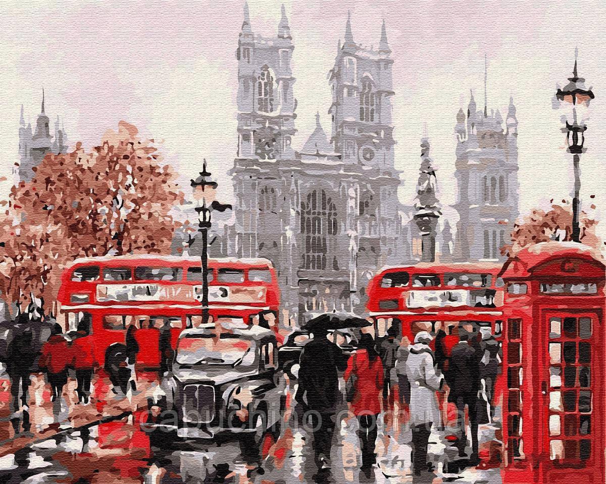Картина малювання за номерами Дощовий Лондон GX8088 40х50см набір для розпису, фарби, пензлі полотно