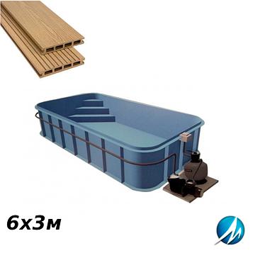 Терасна дошка по периметру басейну з шириною доріжки 0,7 м - комплект для поліпропіленового басейну 6х3м