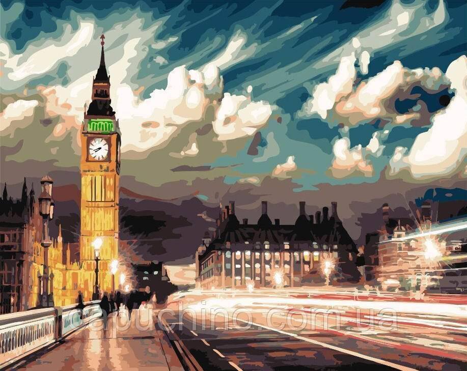 Картина малювання за номерами Сутінки над Лондоном GX22077 40х50см набір для розпису, фарби, пензлі полотно