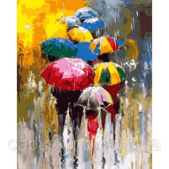 Картина малювання за номерами Mariposa Різнокольорові парасольки Q2243 40х50см набір для розпису, фарби, пензлі,