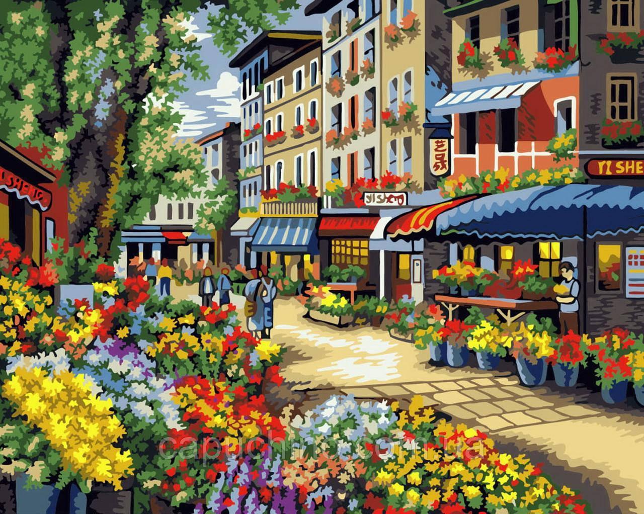 Картина малювання за номерами Квіткова крамниця GX7090 40х50см набір для розпису, фарби, пензлі полотно