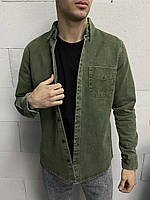 Мужская джинсовая рубашка хаки, фото 1