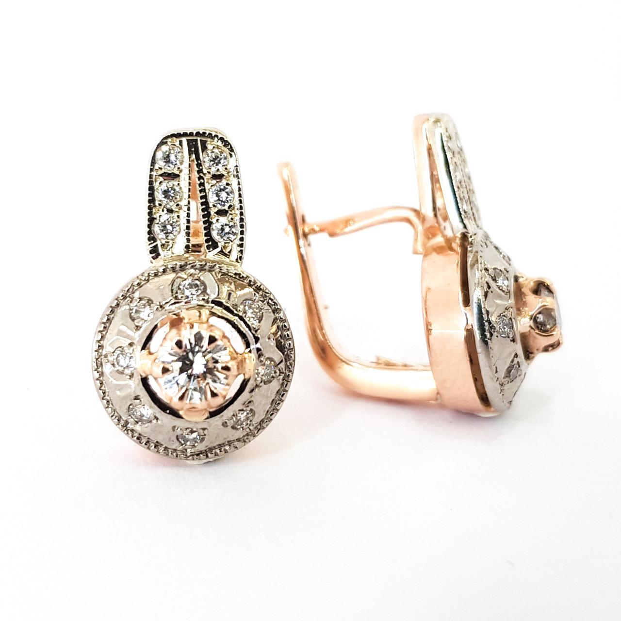 Красиві золоті класичні сережки з діамантами КЮЗ