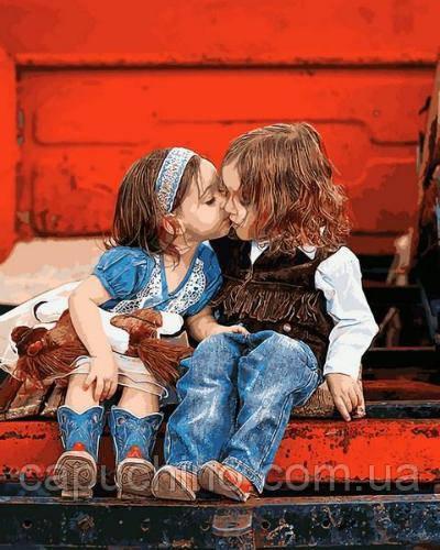 Картина рисование по номерам Mariposa Первый поцелуй 40х50см Q2229 набор для росписи, краски, кисти, холст