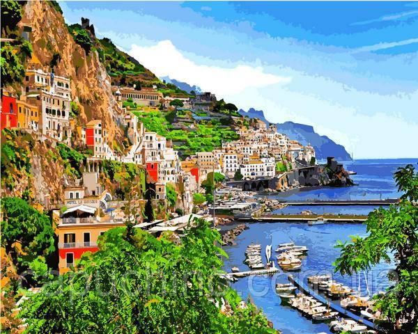 Картина малювання за номерами Mariposa Позитано деревня на юге Италии 40х50см Q2199 набір для розпису, фарби, пензлі, полотно