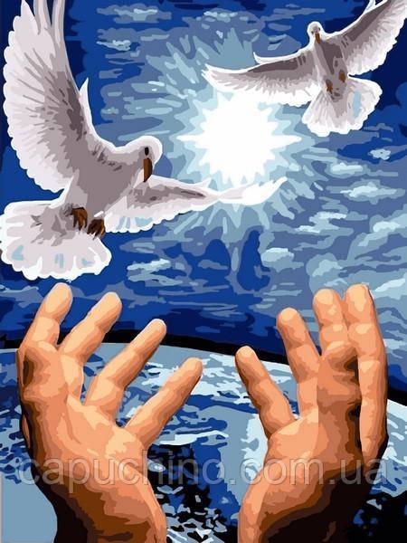 Картина рисование по номерам Babylon Пара голубей 30х40см VK246 набор для росписи, краски, кисти, холст