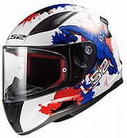 Мотошлем детский LS2 FF353 Rapid Mini Monster белый/синий/красный, L