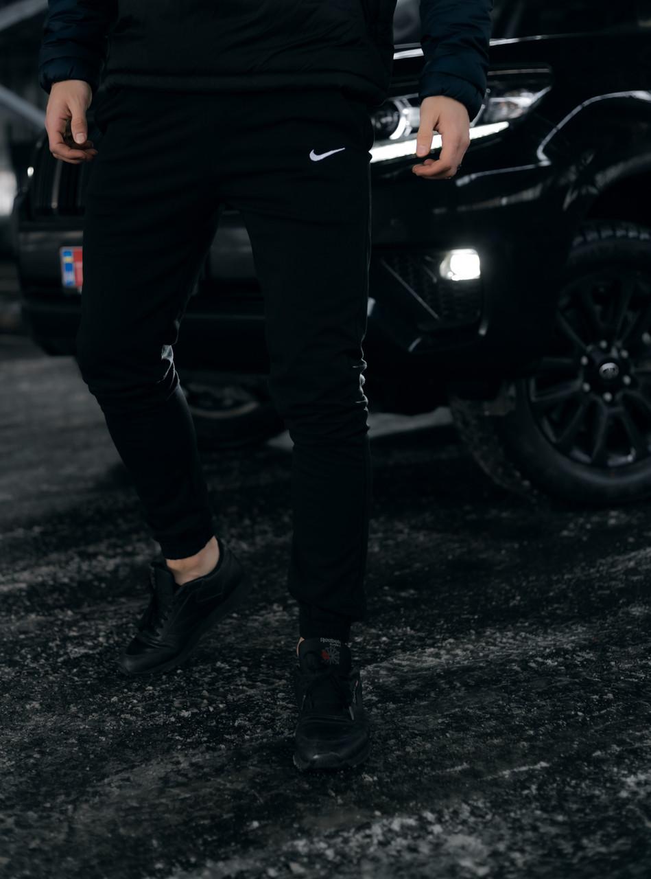Спортивные весенние черные штаны на манжетах Nike Найк
