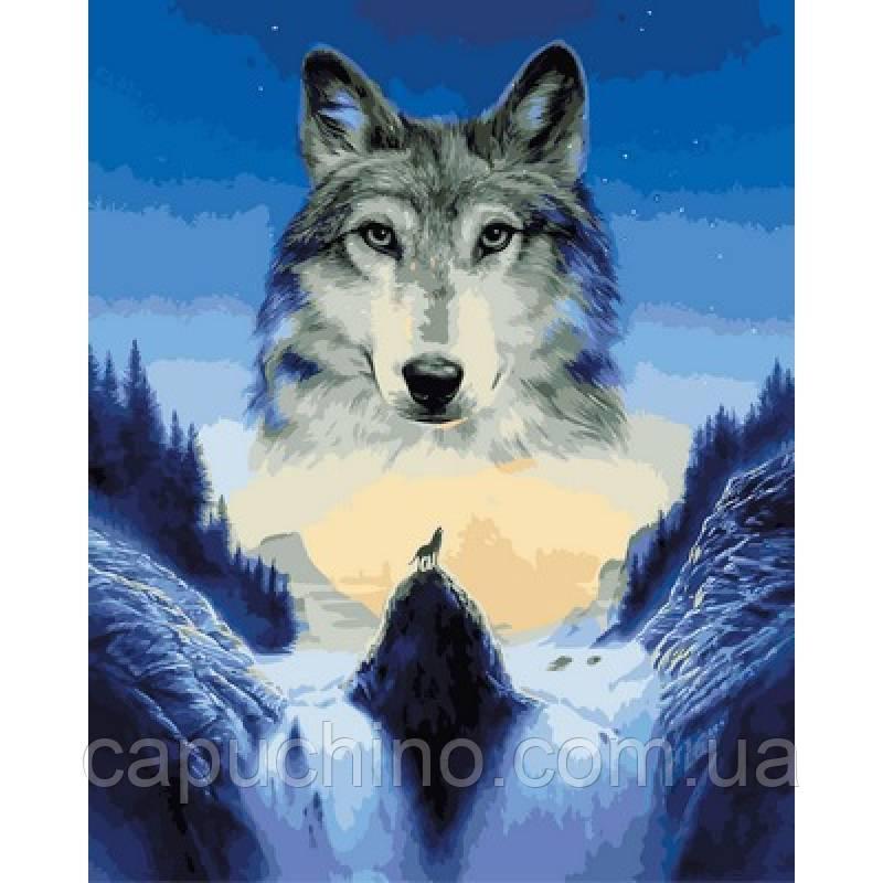Картина малювання за номерами Babylon Самотній вовк 40х50см VP929 набір для розпису, фарби, кисті, полотно