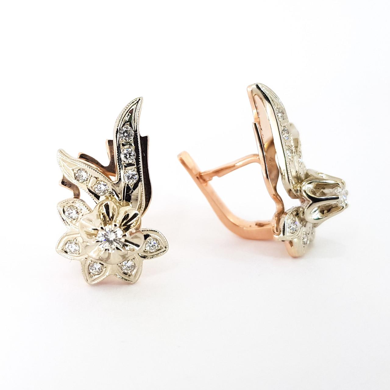 Класичні золоті сережки з діамантами КЮЗ