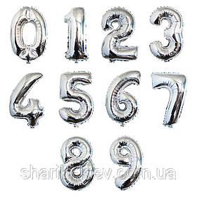Цифра серебро 102 см ВОЗДУХ фольга  на День Рождения