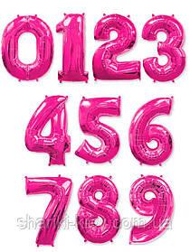 """Цифра """"1"""" розовая (фуксия) 102 см ВОЗДУХ фольга  на День Рождения"""