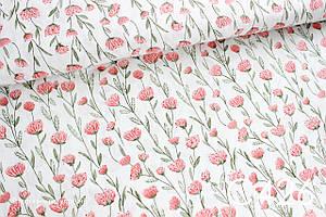 Тканина сатин Ніжні квіти рожеві