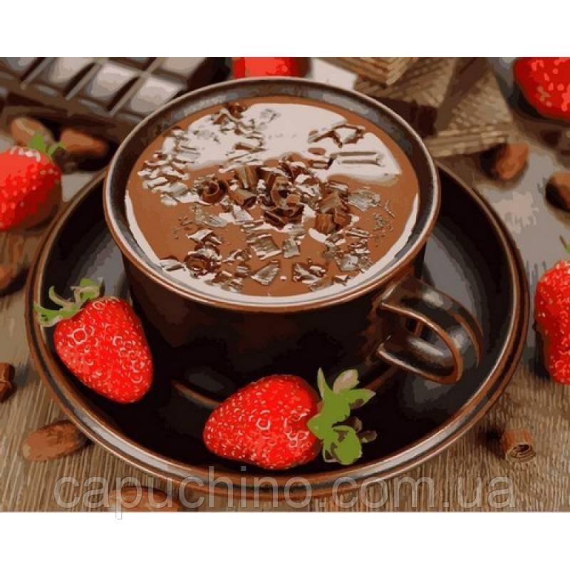 Картина малювання за номерами Mariposa Гарячий шоколад і полуниця Q2190 40х50см набір для розпису, фарби,