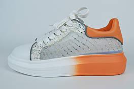 Кросівки зі стразами V. I. konty 21802 37 Білі з помаранчевим