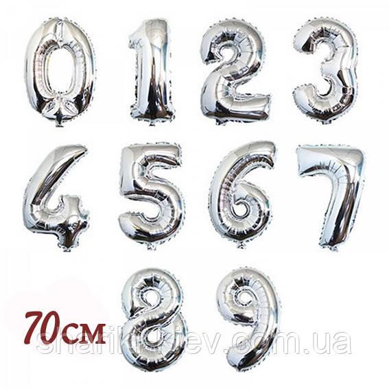 Цифра серебро 70 см ГЕЛИЙ фольга  на День Рождения