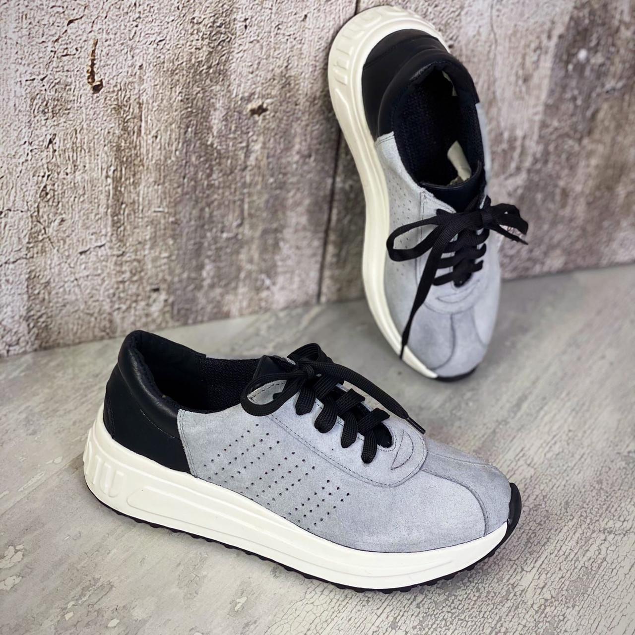 Женские замшевые кроссовки с перфорацией 36-40 р серый