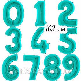 Цифра фольгированная с Гелием Тиффани , Мята 102 см