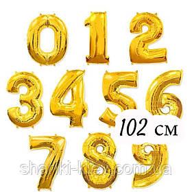 Цифра Золото 102 см ГЕЛИЙ фольга  на День Рождения