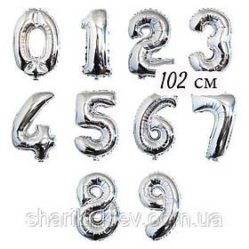 Цифра  серебро 102 см ГЕЛИЙ фольга  на День Рождения шарик с гелием