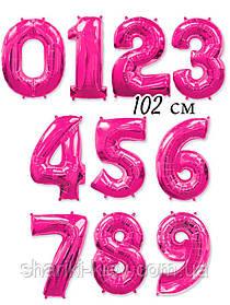 Цифра розовая (фуксия) 102 см ГЕЛИЙ фольга  на День Рождения