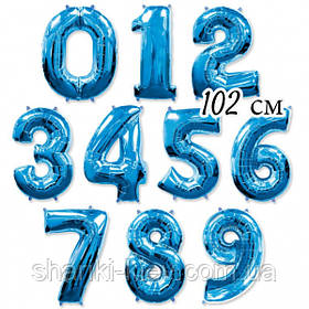 Цифра  синяя 102 см ГЕЛИЙ фольга  на День Рождения
