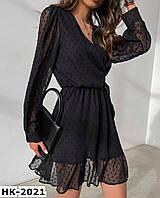 Женское стильное воздушное шифоновое платье в горошек рр 42-52 2 цвета