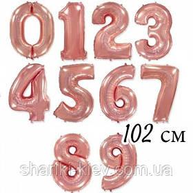 Цифра розовое золото 102 см ГЕЛИЙ фольга  на День Рождения