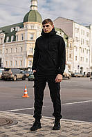 Мужской костюм Softshell черный демисезонный Intruder. Куртка мужская, штаны утепленные + Ключница