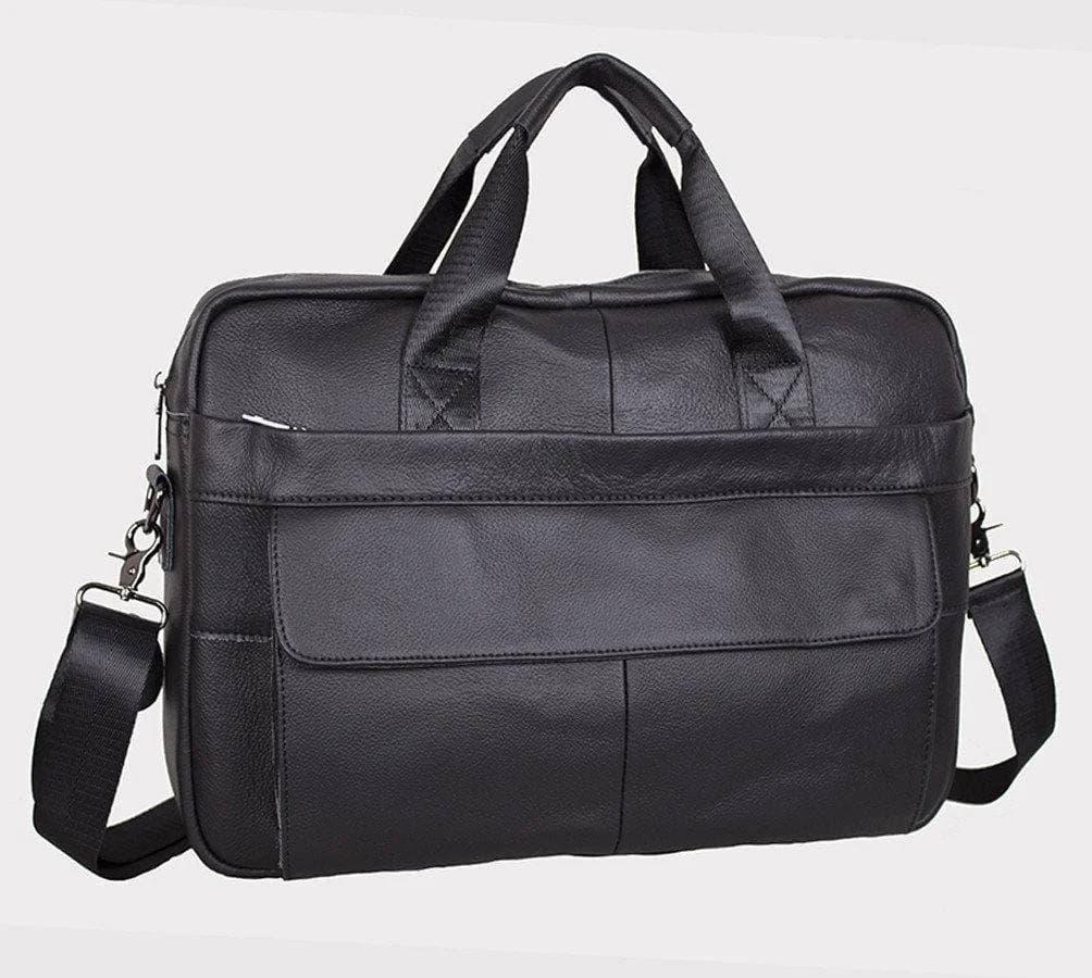 Качественный кожаный портфель для ноутбука, деловой коричневый Tiding Bag
