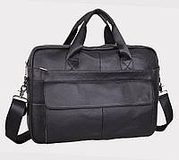Качественный кожаный портфель для ноутбука, деловой коричневый Tiding Bag, фото 1