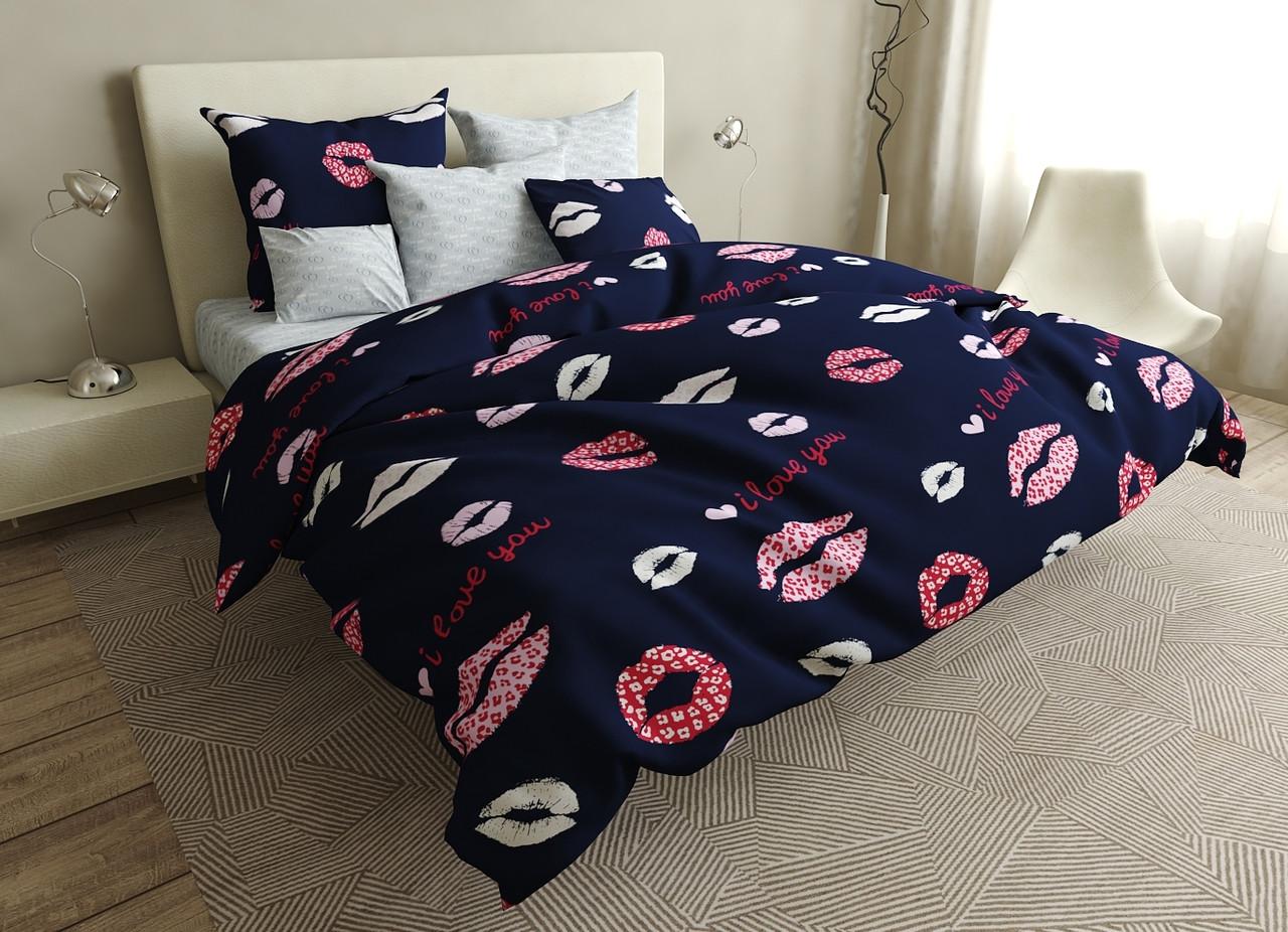 Комплект постельного белья евро на резинке 200*220 хлопок (16634) TM KRISPOL Украина