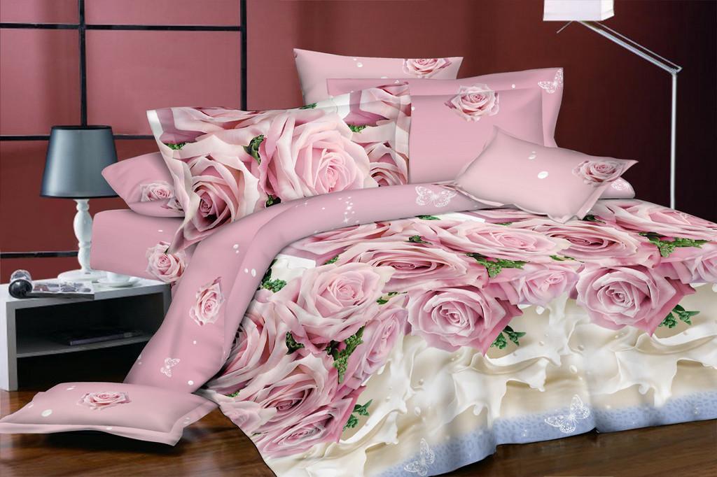 Комплект постельного белья евро на резинке 200*220 хлопок (16635) TM KRISPOL Украина