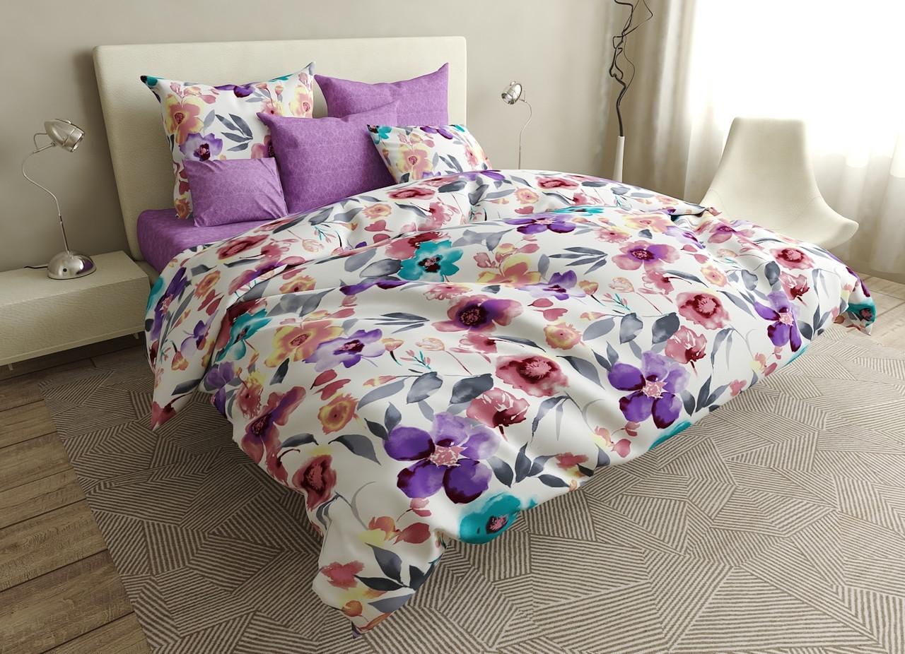 Комплект постельного белья евро на резинке 200*220 хлопок (16636) TM KRISPOL Украина