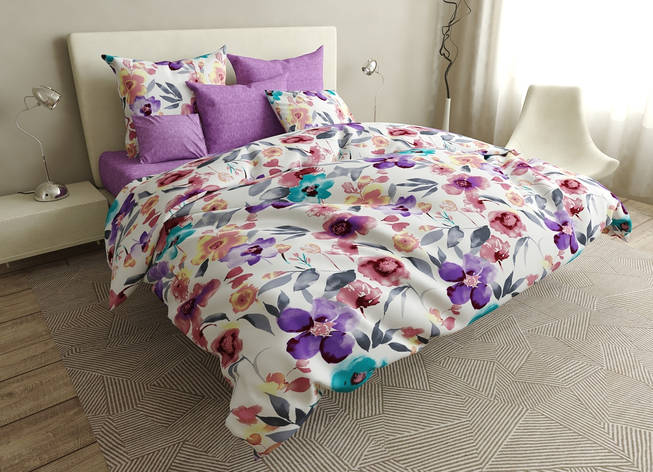 Комплект постельного белья евро на резинке 200*220 хлопок (16636) TM KRISPOL Украина, фото 2